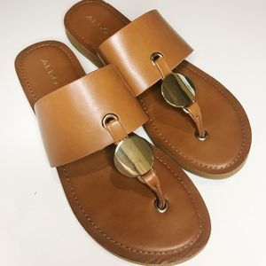 Aldo Tan Thong Sandals with Gold Accent, Size 8